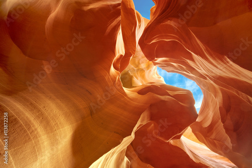 Staande foto Canyon sculpted sandstone walls in Lower Antelope Canyon