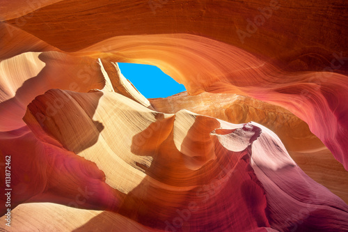 obraz PCV beautiful colors of the stone in a crevice of antelope canyon