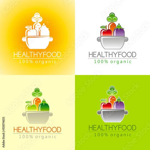 Healthy organic food logo icon set with fresh fruits