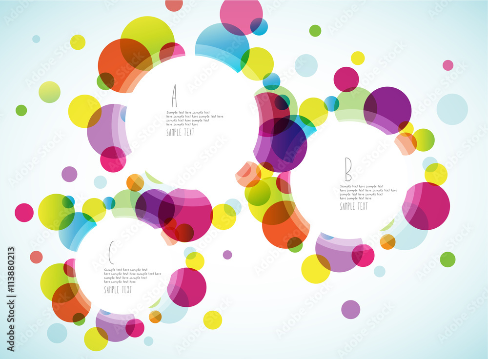 Random colorful bubbles with plance for your text.