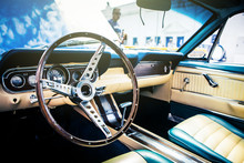 Inside View Of Classic American Car.