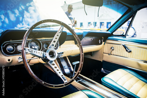 фотография  Inside view of classic american car.