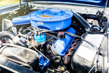 Classic Car Engine. Muscle Car Sports Car.