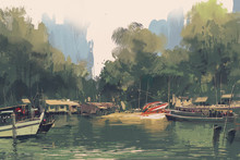 Village On The Bank Of River,illustration Painting