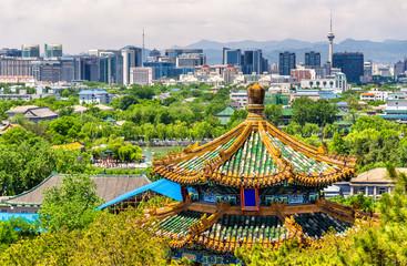 Fototapeta City view of Beijing from Jingshan park