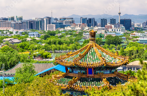 Tuinposter Peking City view of Beijing from Jingshan park