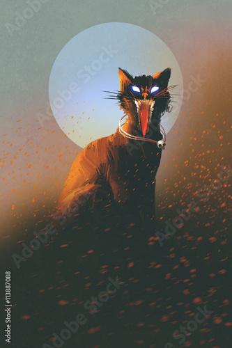 zły kot na tle księżyca, nieumarłych, koncepcja horroru, ilustracja