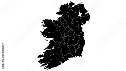 Country Map Of Ireland.Ireland Country Map Detailed Visualisation In Black Buy This Stock