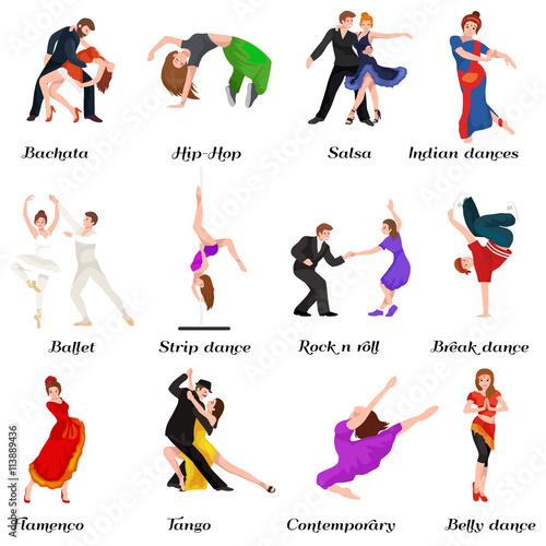 Fotografie, Obraz  Dancing People, Dancer Bachata, Hiphop, Salsa, Indian, Ballet, Strip, Rock and Roll, Break, Flamenco, Tango, Contemporary, Belly Dance Pictogram Icon