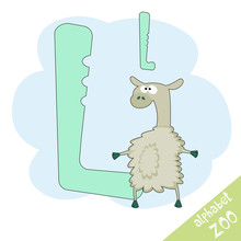 Hand Drawn Letter L And Funny Cute Lama. Children's Alphabet In Cartoon Style, Vector Illustration.