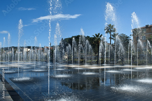 france nice fountain miroir d'eau at promenade du paillon Canvas Print
