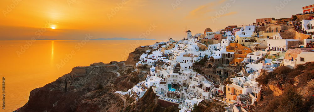 Fototapety, obrazy: Oia at sunset, panoramic view