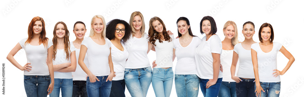 Fototapeta group of happy different women in white t-shirts