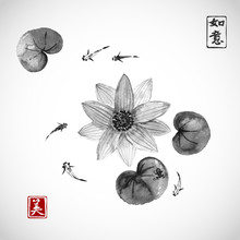Lotos Flowers And Little Fishes In Pond Isolated On White Background. Traditional Japanese Ink Painting Sumi-e In Vintage Style. Contains Hieroglyph - Beauty, Dreams Come True
