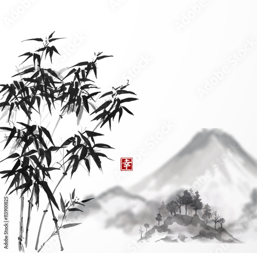 Juliste  Bamboo trees and Fujiyama mountain hand-drawn with ink in traditional Japanese painting style sumi-e