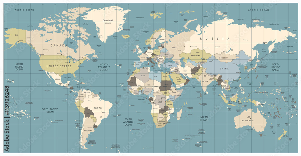 World Map old colors illustration: countries, cities, water ...