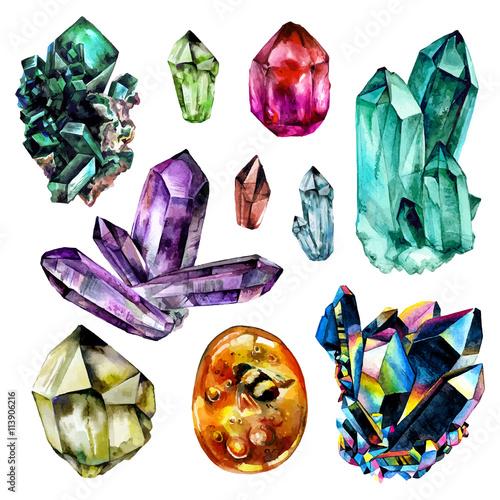 Fotografie, Obraz  Watercolor Gems collection