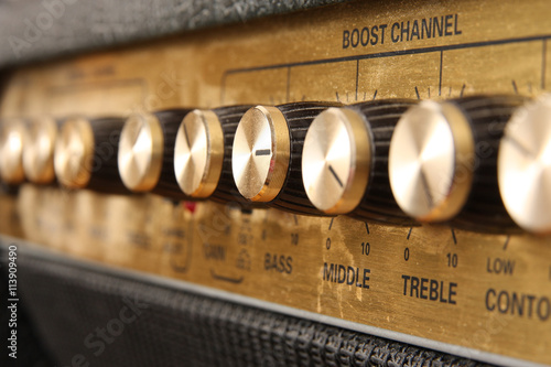 detail of controll panel of an guitar amplifier Fototapete