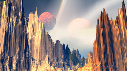 Obraz na Szkle Style Fantasy alien planet. Rocks and sky. 3D illustration
