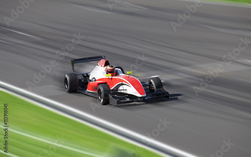 Bolide driving at high speed in circuit