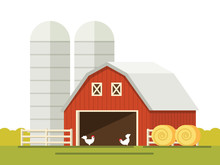 Farm And Barn For Storing Grain In A Flat Style. Stack Of Hay.