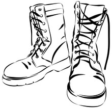 Military Leather Worn Boots Ve...