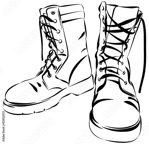 Fotografía  Military leather worn boots vector illustration