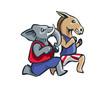 USA Democrat Vs Republican Election Match Cartoon - Long Hours Marathon Competition