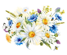 Watercolor Wild Flowers Compos...
