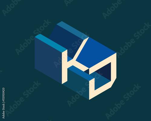 KD Isometric 3D Letter Logo Three Dimensional Stock Vector Alphabet Font Typography Design