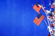 canvas print picture - 4th of July decorations on blue background