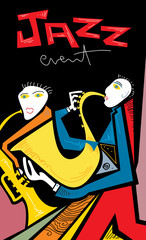 Fototapeta Muzyka / Instrumenty Abstract Jazz Band Art, Sax and Trumpet Players (vector Art)
