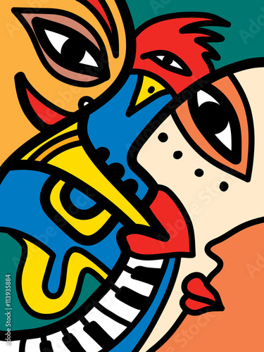 Abstract Jazz Band Art Sax Piano And Trumpet Players