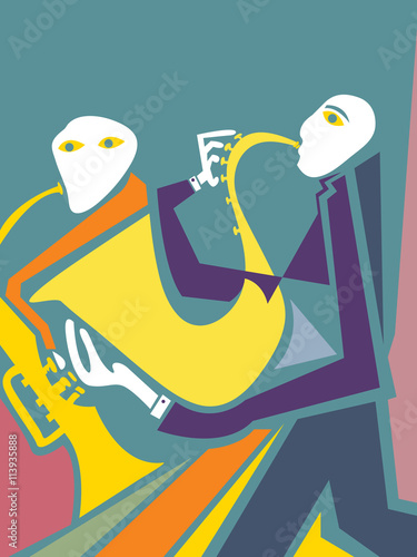 Abstract Jazz Band Art Sax And Trumpet Players Vector Art