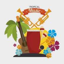 Tropical Music Instruments Isolated Icon Design