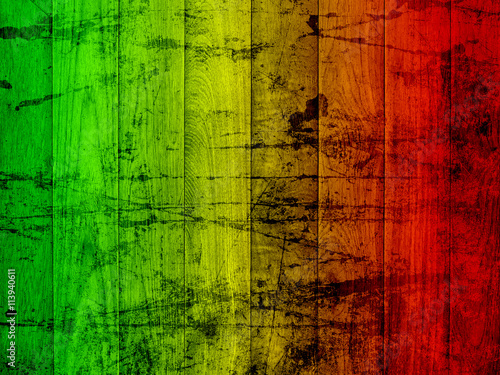 Photo grunge background reggae colors green, yellow, red