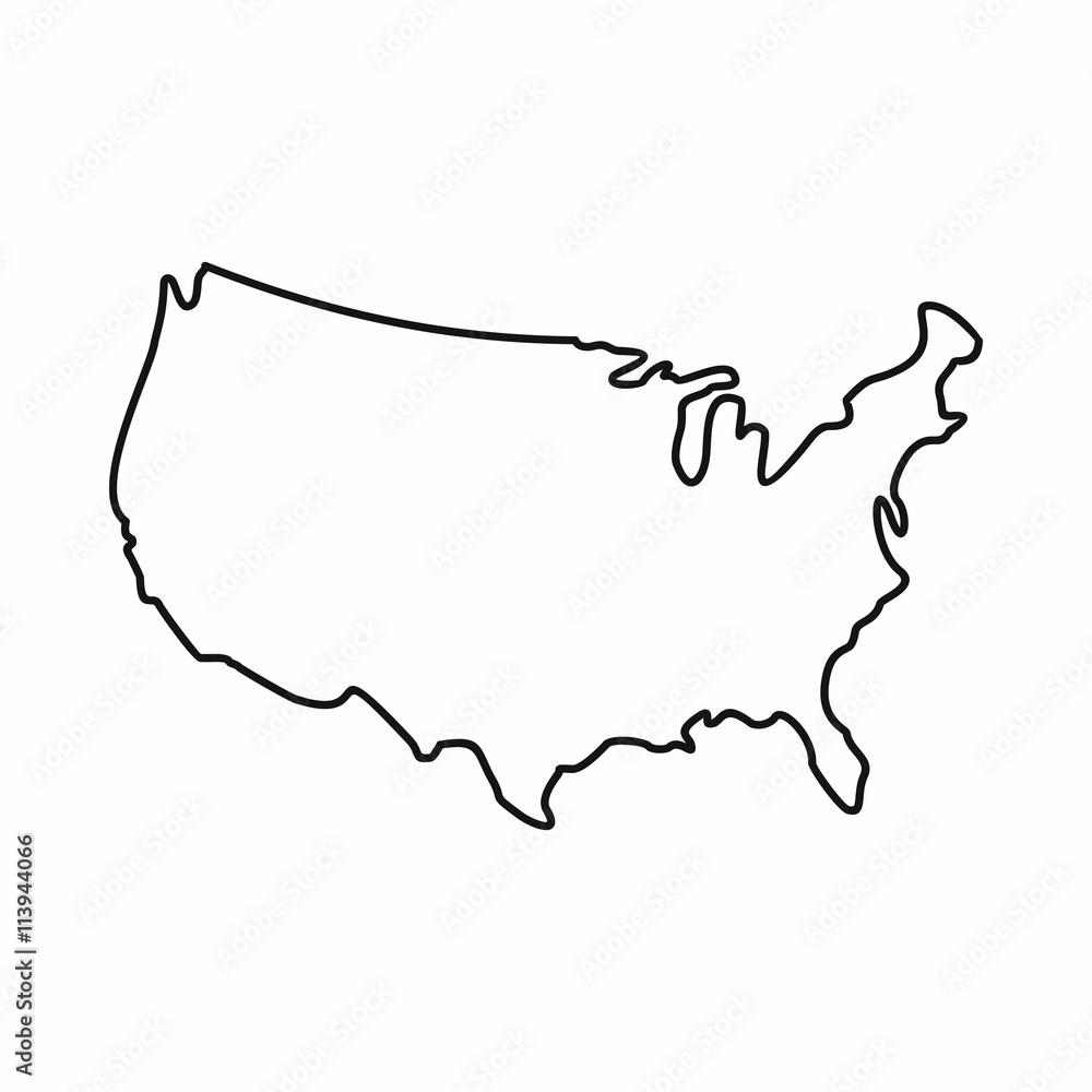 Fototapeta USA map icon, outline style