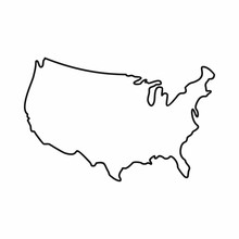 USA Map Icon, Outline Style