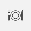 fork, knife and dish icon