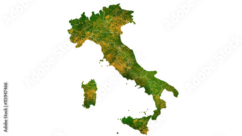 Fotografie, Tablou  Italy country map detailed visualisation