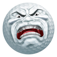 Angry Golf Ball Sports Cartoon...