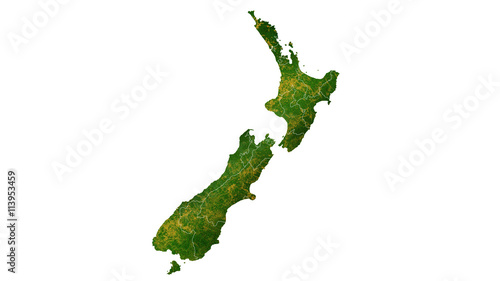 Cuadros en Lienzo New Zealand country map detailed visualisation