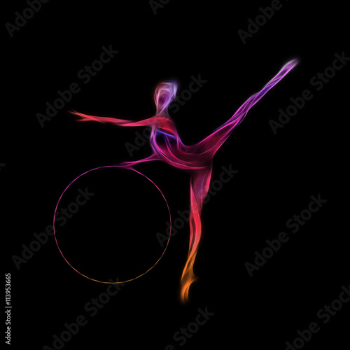 Photo Rhythmic Gymnastics with Hoop Silhouette on black background
