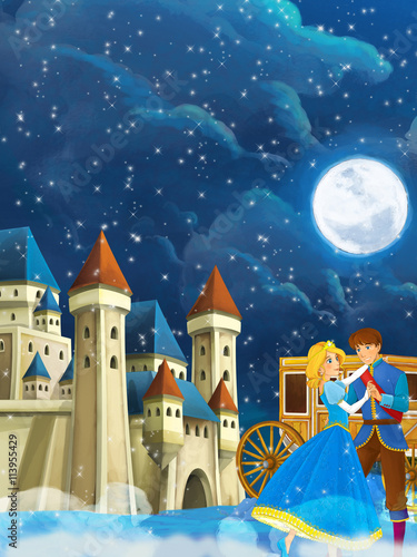 fototapeta na drzwi i meble Cartoon scene with prince and princess - beautiful castle and carriage in the background - illustration for children