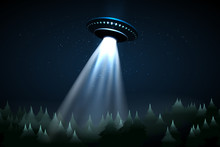 Flying UFO Over Night Forest V...