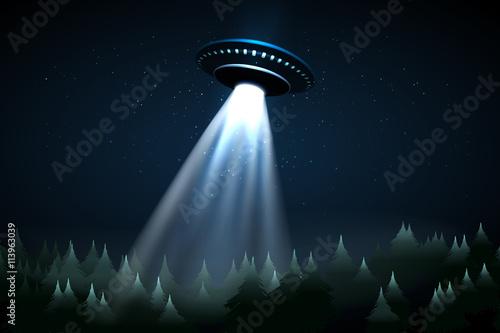 Leinwand Poster Flying UFO over night forest vector illustration