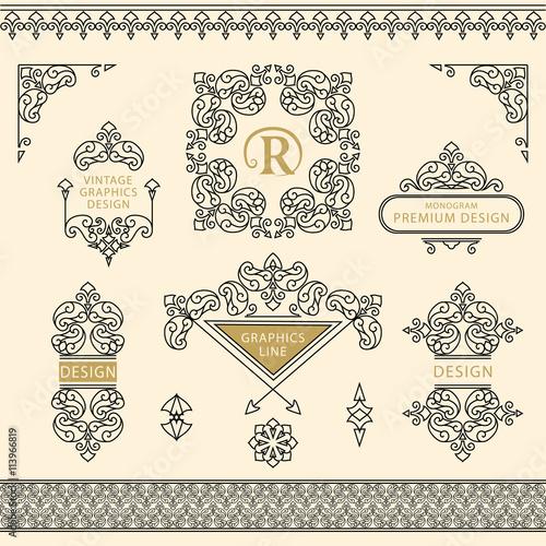 Set of line art frames and borders for design template Fototapeta