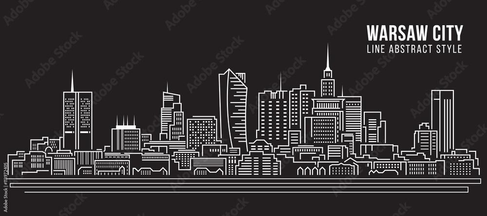 Fototapety, obrazy: Cityscape Building Line art Vector Illustration design -  Warsaw city