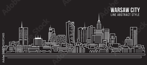 Cityscape Building Line art Vector Illustration design -  Warsaw city