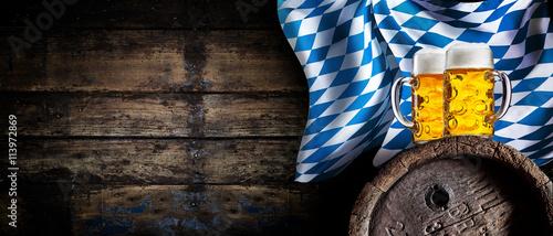 Tableau sur Toile Oktoberfest tavern background with beer banner